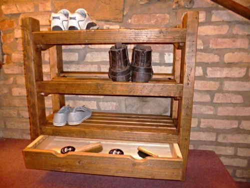 Rustic Shoe Rack With Dawer And Matching Shelf And Coat